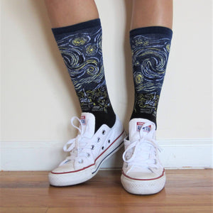 STARRY NIGHT CREW SOCKS - Artsyez Unique Art Gifts