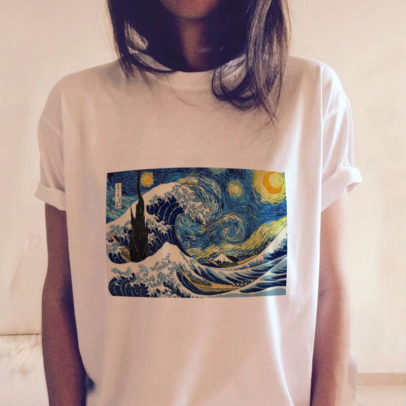 Starry Wave Tee - Artsyez Unique Art Gifts