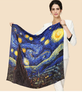 Starry Night Silk Scarf Van Gogh - 90CM - Artsyez Unique Art Gifts