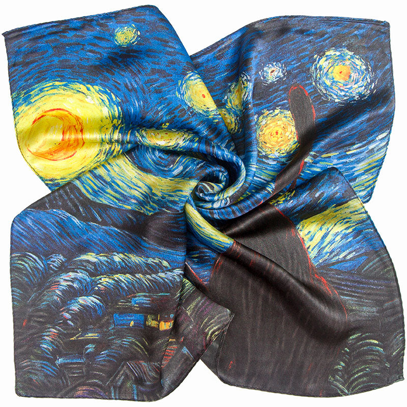 Starry Night Silk Scarf Van Gogh - 50CM - Artsyez Unique Art Gifts
