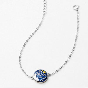 Van Gogh's Starry Night Sterling Silver Bracelet - Artsyez Unique Art Gifts