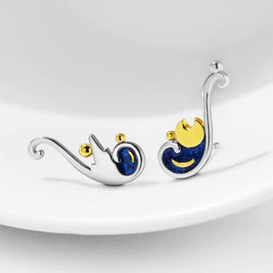 Van Gogh's Starry Night Sterling Silver Earrings - Artsyez Unique Art Gifts
