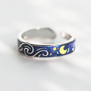 Van Gogh's Starry Night Sterling Silver Ring - Artsyez Unique Art Gifts