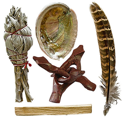 "Smudge Kit (Feather, Shell, Palo Santo, Mini White Sage, 4"" Tripod)"