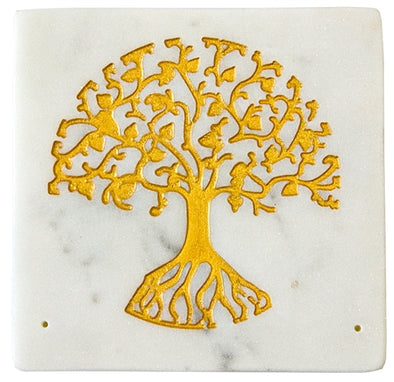 White Soapstone Tree of Life Incense Burner
