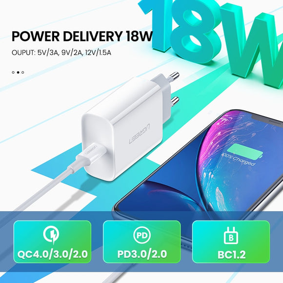 Ugreen 18W Fast Charger | 18W Power Delivery | 18W Quick Charge 4.0 | USB-C to Lightning Cable | USB-C to USB-C Cable - Mukhtar Networking