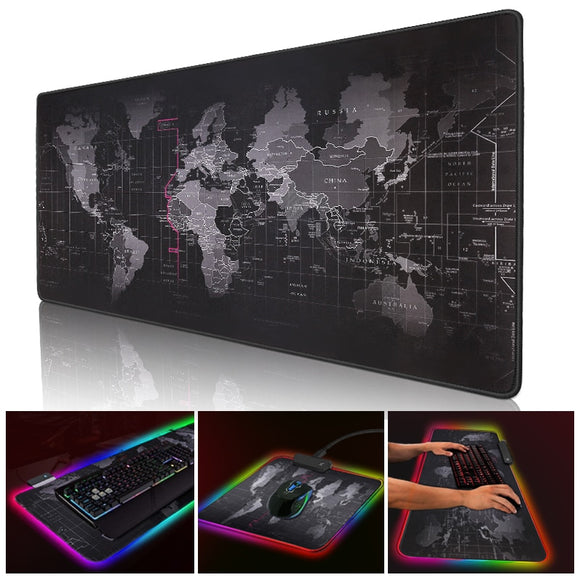 Gaming Mouse Pad RGB | LED Backlit | Non-Slip Rubber Mouse Pad | World Map Edition - Mukhtar Networking