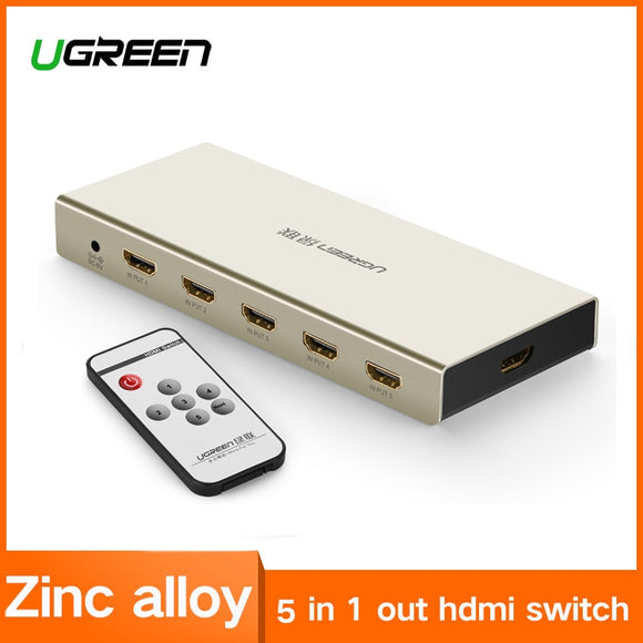 Ugreen HDMI Switch 5-Port in 1-Port out Zinc Alloy | Remote Control | TV, Xbox, PlayStation, Other - Mukhtar Networking