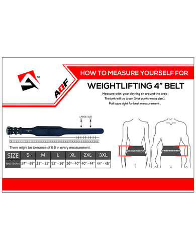 "AQF Weight Lifting Leather Belt 4"" Cowhide Black"
