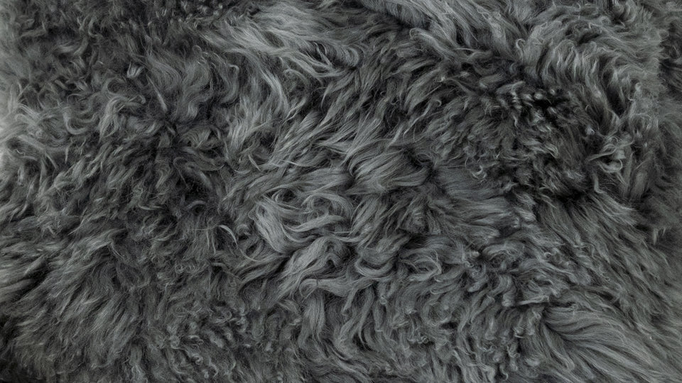 Closeup of blue grey sheepskin