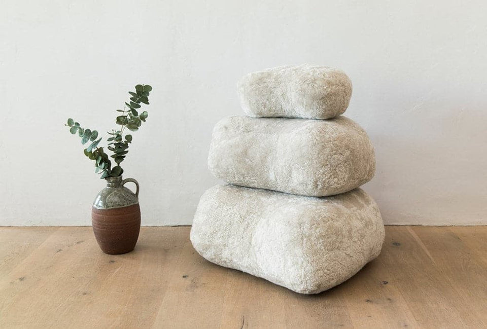 Stack of soft short wool sheepskin stones