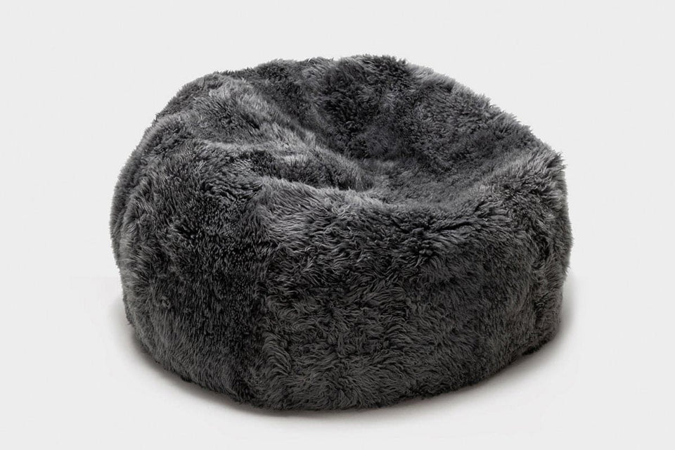 Grey long wool sheepskin bean bag chair
