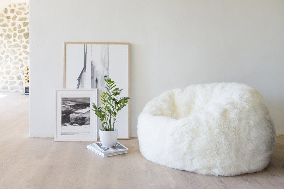 White long wool sheepskin Bean Bag Chair