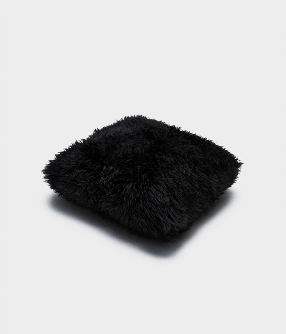 Black sheepskin cushion