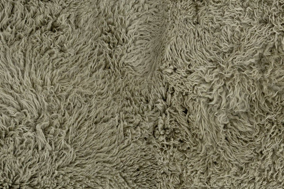 Green sheepskin closeup