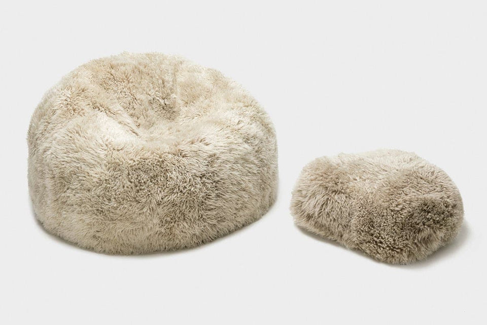 Sheepskin bean bag chair and sheepskin footstool