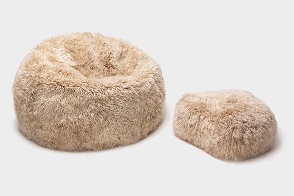 Long wool sheepskin bean bag chair with sheepskin footstool