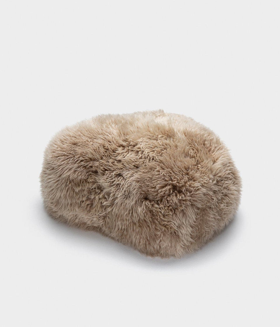 Long wool sheepskin footstool