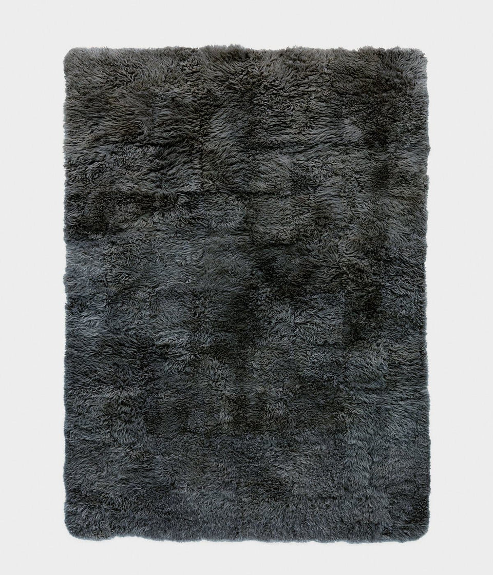 Grey rectangular sheepskin wool floor rug