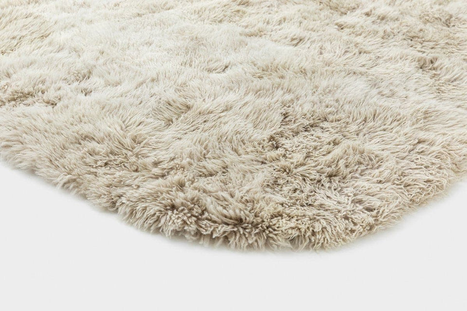 Sheepskin wool floor rug closeup