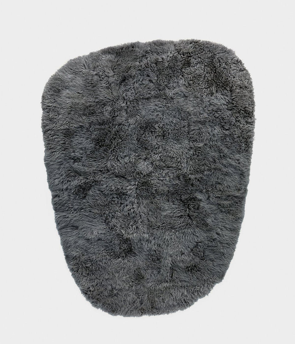 Grey sheepskin wool designer floor rug
