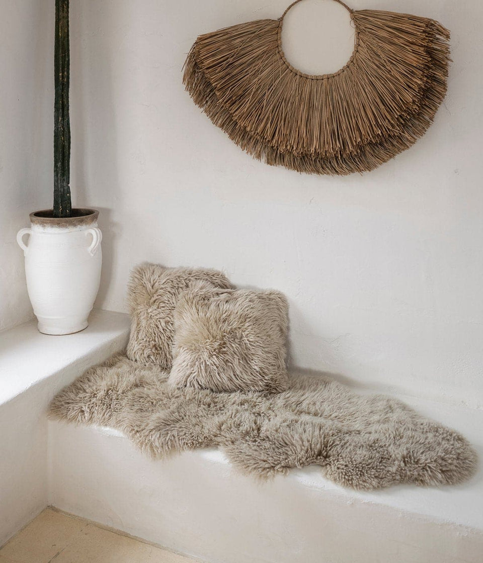 Sheepskin rug on a bench seat