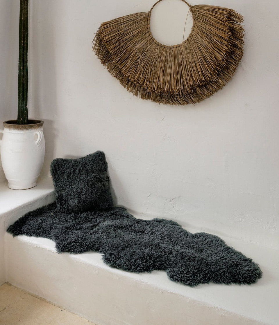 Sheepskin rug in a Mediterranean inspired interior