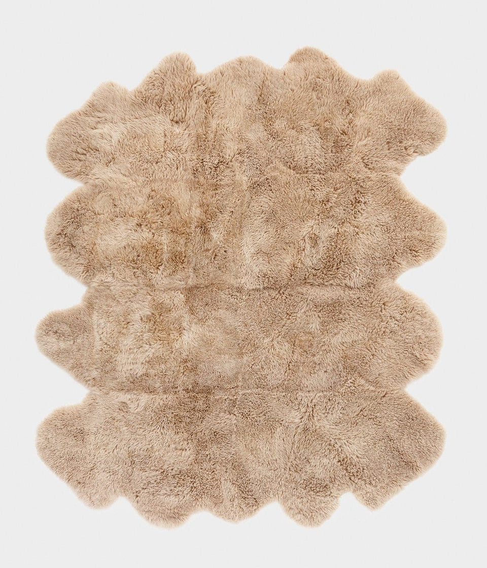 Long wool sheepskin rug