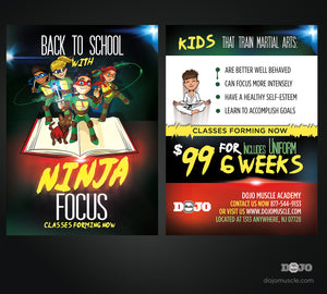 Back to School With Ninja Focus Post Cards A1 - Dojo Muscle