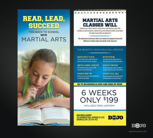 Back To School Read, Lead, Succeed Rack Card 1B - Dojo Muscle