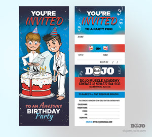 Birthday Invitation Tear Off Cards A - Dojo Muscle