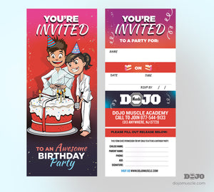 Birthday Invitation Tear Off Cards B - Dojo Muscle