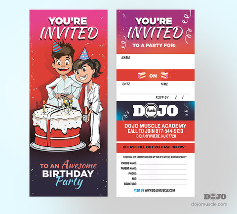 Birthday Invitation Tear Off Cards B