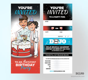 Birthday Invitation Tear Off Cards D - Dojo Muscle