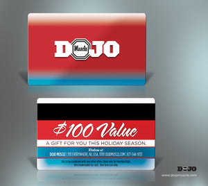 Dojo Muscle Plastic Gift Cards - Holiday Style 5 - Dojo Muscle