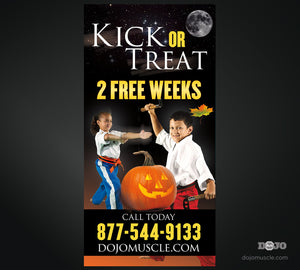 Kick or Treat Banner 3 x 6 Vertical - Dojo Muscle