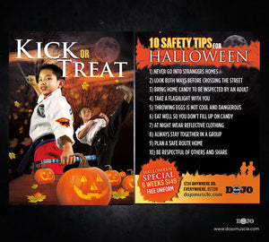 Kick or Treat Safety Tips Halloween Card 2a - Dojo Muscle