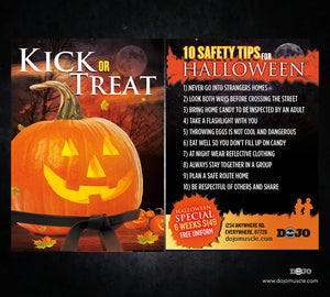 Kick or Treat Safety Tips Halloween Card 2d - Dojo Muscle