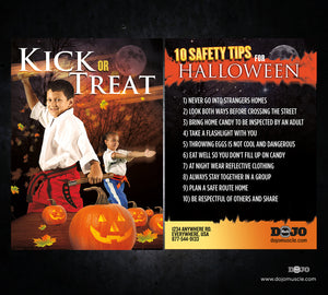 Kick or Treat Safety Tips Halloween Card 3b - Dojo Muscle