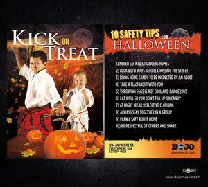 Kick or Treat Safety Tips Halloween Card 3c - Dojo Muscle