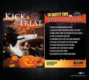 Kick or Treat Safety Tips Halloween Card 3e - Dojo Muscle