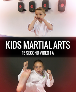 A young boy with his hands up in guard in a karate gi, and a young girl throwing a karate front kick.