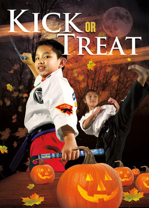 Kick or Treat Safety Tips Halloween Card 3a - Dojo Muscle