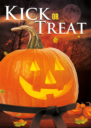 Kick or Treat Safety Tips Halloween Card 3d - Dojo Muscle