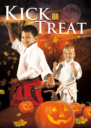 Kick or Treat Safety Tips Halloween Card 2c - Dojo Muscle