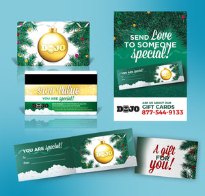 Dojo Muscle Holiday Gift Card - Pine Tree Style Holders and Poster Bundle