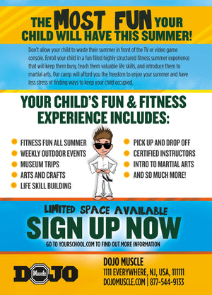 Fitness and Fun Summer Camp Post Cards Back