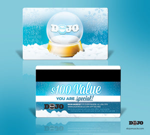 Dojo Muscle Plastic Gift Card - Holiday Geography Styles - Snow Globe - Dojo Muscle