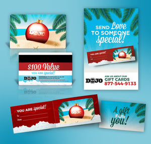 Dojo Muscle Holiday Gift Card - Beach Style Holders and Poster Bundle