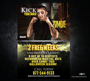 Kick Your Inner Zombie Halloween Card